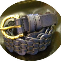 Navy blue leather handmade linked belt