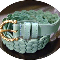 Turquoise blue leather handmade linked belt