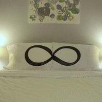 His and Hers Pillow Case Infinity Pillow Eternity Pillowcase Bed Pillow Infinity Symbol Bedroom Decor Eternity Pillowcase