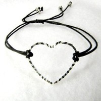 Heart black cord stacking bracelet for your bridesmaids | UnusuallyYours - Jewelry on ArtFire