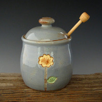 Rustic Sunflower Honey Pot - Country Blue - Large Honey Jar - Summer Flowers - by DirtKicker Pottery