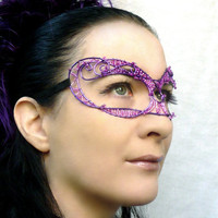 Purple wire ladies masquerade mask, handmade