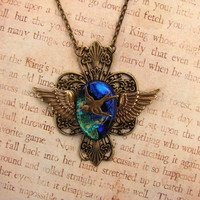 In Flight Antiqued Brass Sparrow Filigree Fused by fusedelegance