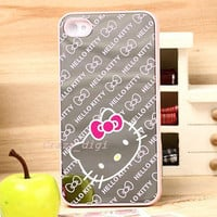 New Hello Kitty Cute Mirror Style Hard Back Case Cover for iPhone 4 4S Pink