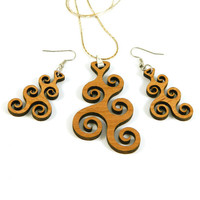 Wood Earrings and Pendant - Spiral Waves - Laser Cut Alder Wood Jewelry