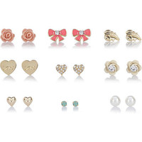 Gold tone heart, bow and flower earring pack