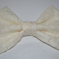 Large White Lace Bow by Kim and Al's Bowtique