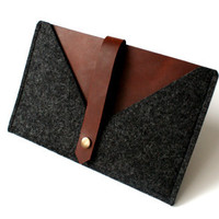 iPad mini Sleeve &quot;Rough Edge&quot; -  Dark Brown Leather and Anthracite Wool Felt