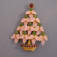 SWOBODA Christmas tree brooch, pink nuggets - Morning Glory Jewelry