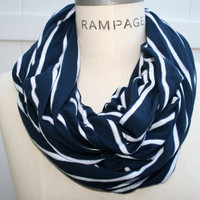 Blue Infinity Scarf Women Scarves FREE Shipping Blue  White Eternity Scarf Autumn Fashion - by PIYOYO