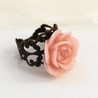 Soft pink resin cabochon rose ring - flower ring