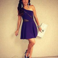 One Shoulder Mesh Skater Dress