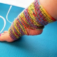 Hand Knit Socks Ladies Rainbow Striped Yoga Socks by StichesInTime