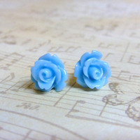 Light Sky Blue Flower Post Earrings