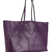 Yves Saint Laurent dark magentsa calfskin leather 'Neo Double' reversible tote | BLUEFLY up to 70% off designer brands