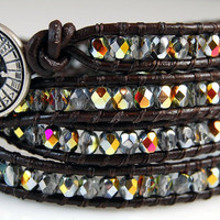Chan Luu Style Wrap Bracelet - Crystal Marea Fire Polished Crystals - Dark Brown Leather