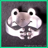 Adjustable cute animal ring frog ring in sterling by RingRingRing