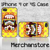 Sugar Skull Stormtrooper Star Wars Custom iPhone 4 or 4S Case Cover