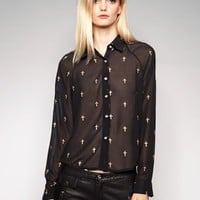 Gold cross chiffon shirt [Lil2563] - $49 : Pixie Market, Fashion-Super-Market