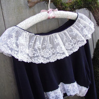 Romantic Gothic Victorian Tattered Eco Crop Top/ Cotton Half Shirt Vintage Lace Cream Black Long Sleeves