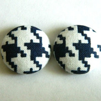 Button Earrings Houndstooth Navy Blue