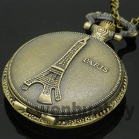 Vintage Pairs Tower Bronze Quartz Big Pocket Watch Necklace Chain Gift P06