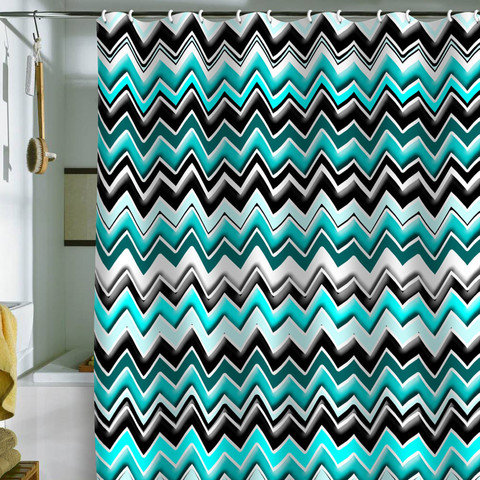 Madart Inc Turquoise Black White Chevron From DENY Designs