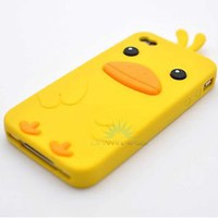 Cute Yellow Funny Duck Silicon Soft Gel iPhone 4G 4S Case Cover Accessory