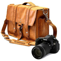 "14"" Manhattan Camera Bag - Serengeti -Full Grain Leather - Large Padded Camera Insert Divider with Padded Bottom - Made in the U.S.A."