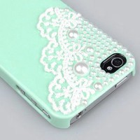 Amazon.com: Cute Pearl Cute Lace Deco Ice Cream Case Cover for iPhone 4 4G 4S-Mint Green: Cell Phones & Accessories