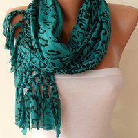 Christmas Gift  - Green and Black Leopard Scarf - Combed Cotton Fabric