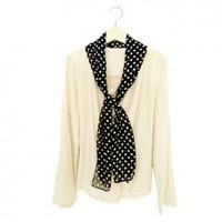 Stylish Dismountable Dot Pattern Scarf Design Scoop Neck Long Sleeves Chiffon Jacket For Women