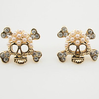 Pearl Rhinestone Skull Bone Stud Earrings wholesale
