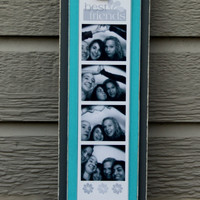 Picture Frame - Holds Photo Booth Picture Strip - Lightly Distressed - Gray & Aqua