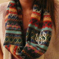 Monogrammed sweater Infinity scarf