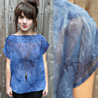 handmade sheer TIE DYE T-SHIRT ,blue tie dye,90s grunge,hippie/boho/festival chic/capped sleeves/sheer blouse