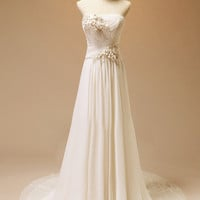 Custom Strapless  White Lace Tulle Wedding dress S199