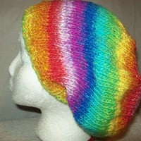 Big Slouchy Hat,Big Hair Hat, Baggy Slouch,knit,Vibrant Multicolor