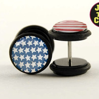 Distressed Flag Fake Plugs by Plug-Club