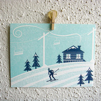 Holiday Card Set. Christmas Card Set. Letterpress. Winter Scenery. Set of 4 Cards