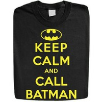 Amazon.com: Stabilitees Funny Keep Calm and Call Batman Womens T Shirts: Clothing
