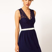 ASOS Skater Dress with Scallop & Velvet Bow at asos.com