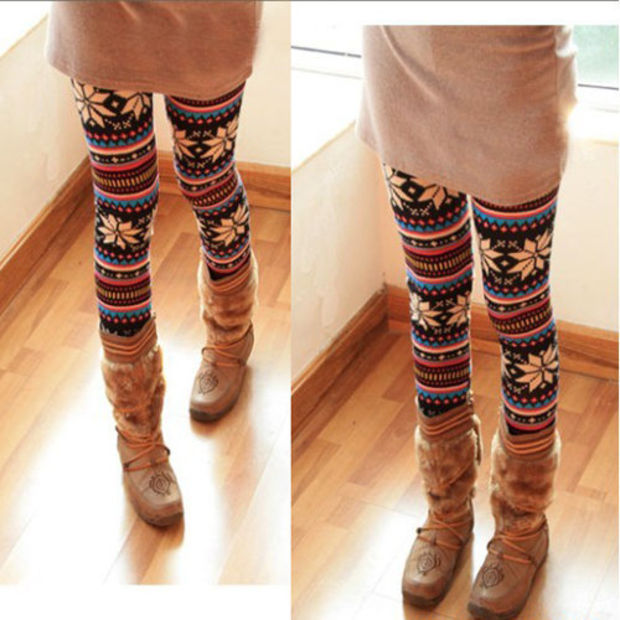 Knitted Colorful Crystal Pattern Snowflakes Leggings Tights Pants Dry Acrylic