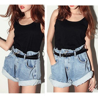 Women Girls Light Blue High Waist Jean Denim Shorts Oversize Loose Ladies Pants