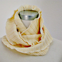 Womens Infinity Scarf Cowl Neckwarmer Upcycled Cream Rib Knit