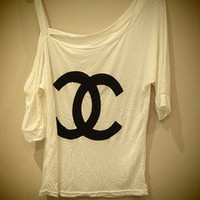 COSMIC RAY clothing — 'CC' Logo Print White Top