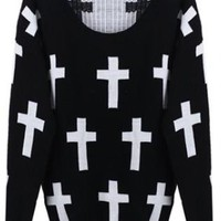 Knitted Cross Print Black Jumper  S007012