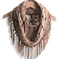 Black Khaki Taupe Red Beige Winter Warm Infinity Loop Scarf Circle Wrap Fringe