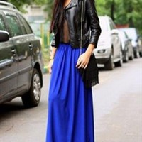 Royal Blue Chiffon Maxi Skirt. Spring Summer Long Skirt from Letsglamup