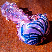Stunning Electric Purple and Blue Color Changing Glass Pipe with Texture and Flower